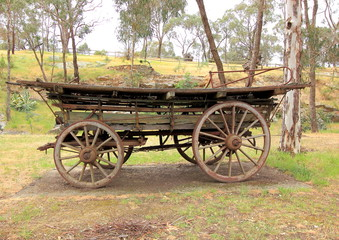 Old antique settlers horse drawn wagon in country Australia
