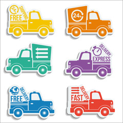 Free delivery vans icon set