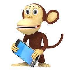 3d funny monkey with smart phone