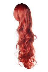 long curly red wig on a white background