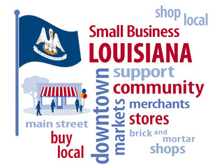 """Louisiana, small business, USA, Pelican State flag, state seal mother bird, chicks, nest, banner motto """" Union, Justice, Confidence """", word cloud, shop local, Main Street shoppers graphic illustration"""