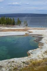 Steaming hot springs on shore of Yellowstone Lake, Wyoming, vert