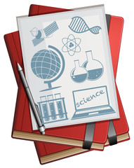 Books and paper with science symbols