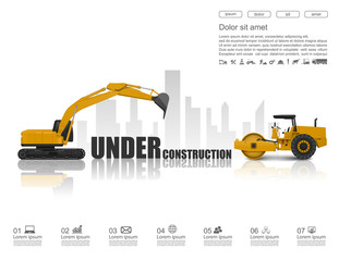 Under construction concept with construction machines,vector