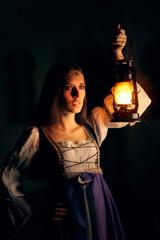 Beautiful Medieval Princess Holding Lantern