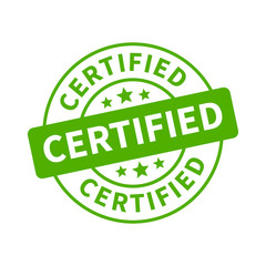 Green certified stamp, label, sticker or stick flat icon