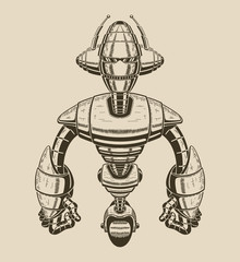 Image of a cartoon metal robot with antennas on the wheel.