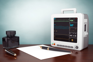Old Style Photo. Health care portable cardiac monitoring equipme