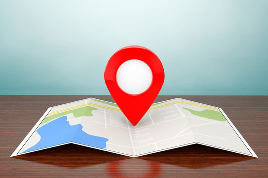 Old Style Photo. Folded Abstract Navigation Map with Target Pin