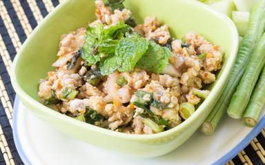 thai food spicy minced chicken salad
