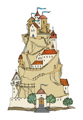 Cartoon color castle, vector