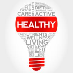 HEALTHY bulb word cloud, health concept