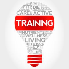 TRAINING bulb word cloud, health concept