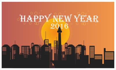 jakarta monas city skyline happy new year 2016
