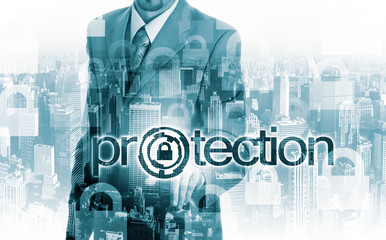 technology and internet concept - businessman pressing protection button on virtual screens