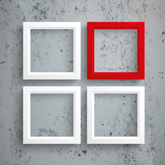 Wall Mural - 3 White 1 Red Frames Concrete