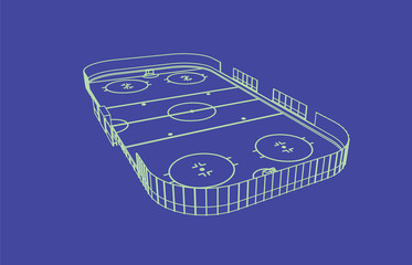 Ice hockey rink.Perspective aerial view.isolated vector illustration