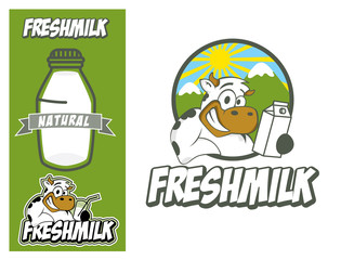 Logo design element Cow Fresh Millk