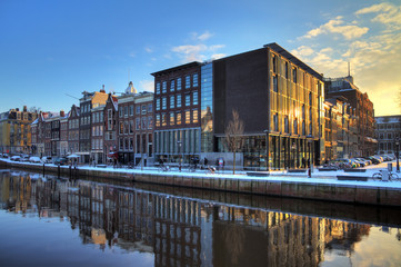 Anne Frank house and holocaust museum in Amsterdam, the Netherlands, on a sunny winter morning. HDR