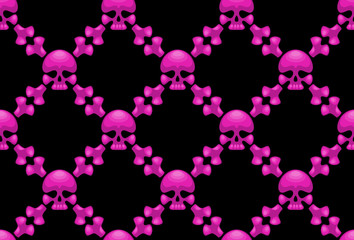 Pink crossbones - seamless wallpaper.