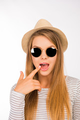 pretty funny girl with glasses and hat