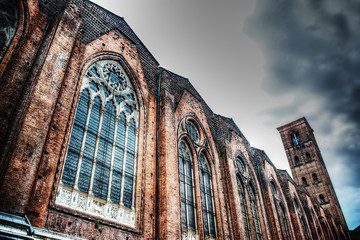 side view of San Petronio cathedral in hdr,