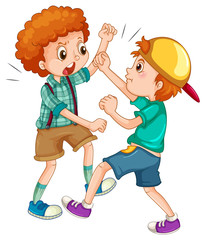 Two boys fighting each other