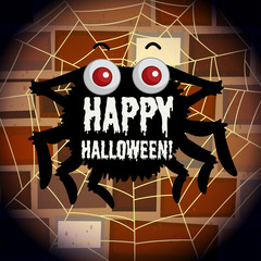 Happy halloween poster with spider web