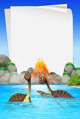 Brachiosaurus swimming in the lake