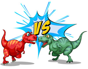 Two dinosaurs fighting each other