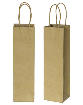 wine brown paper bag for bottles isolated on white