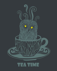 Owl in the vintage cup.