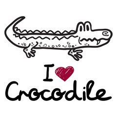 "vector cute cartoon crocodile with words ""i love crocodile"". Vector illustration"