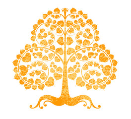 Bodhi tree grunge style on a white background