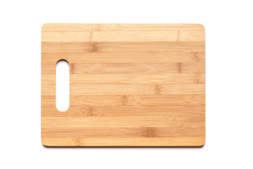 New cutting board made of bamboo on white