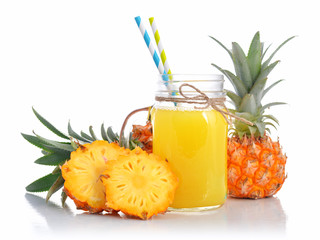 Pineapple juice in glass jar with handle