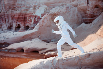 futuristic astronaut on another planet, image with the effect of