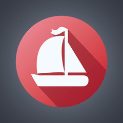 Flat yacht icon on the red background