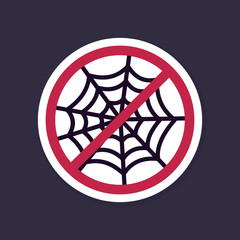 No, Ban or Stop signs. Spider web halloween icon