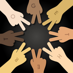 multiracial human hands making a star shape as conceptual symbol of multiracial
