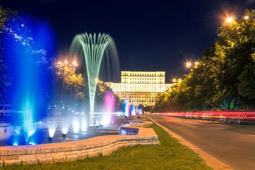 Fountain in Unirii Square,  Bucharest, Romania