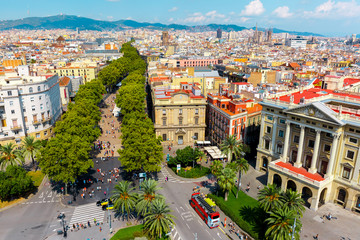 Papiers peints Barcelona La Rambla in Barcelona, Catalonia, Spain