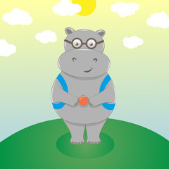 Cute cartoon hippo in eyeglasses, with backpack and an apple