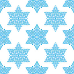 Ornamented Star of David seamless pattern. Israel symbol