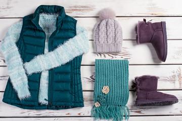 Winter clothes.