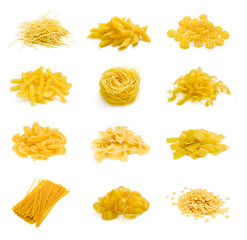 Big collection of italian pasta on white
