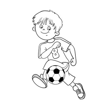 Coloring Page Outline Of A Soccer Boy