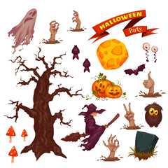 Halloween party icon set. Vector illustration