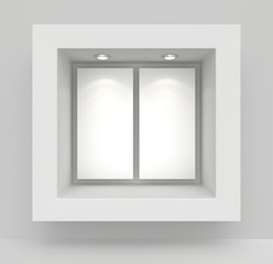 Exhibit Showcases with blank paper poster and light bulbs