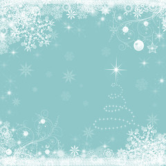 Christmas holiday  blue background with snowflakes